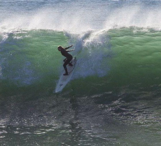 Aloe Driscoll surfing at Middle Peak in Santa Cruz.